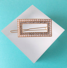 Load image into Gallery viewer, Pearl and Crystal Rectangle Hair Clip