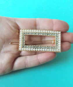 Pearl and Crystal Rectangle Hair Clip