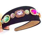 Load image into Gallery viewer, Multi Coloured Jewelled Handmade Headband