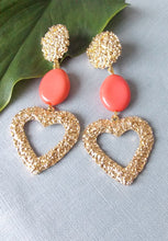 Load image into Gallery viewer, Gold and Coral Bead Textured Statement Earrings