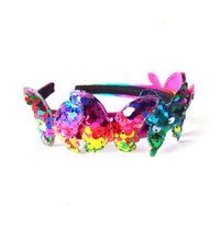 Load image into Gallery viewer, Girls Rainbow Sequin Butterfly Headband