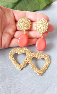 Gold and Coral Bead Textured Statement Earrings