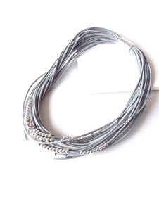 Grey and Silver Layered Magnetic Necklace