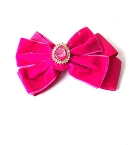 Ladies and Girls Pink Velvet Crystal Jewelled Hair Bow