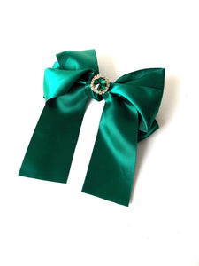 Green Jewelled Satin Bow Hair Clip