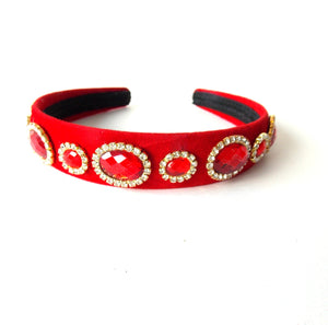 Red Multi Jewelled Handmade Headband