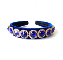 Load image into Gallery viewer, Royal Blue Velvet Jewelled Handmade Headband
