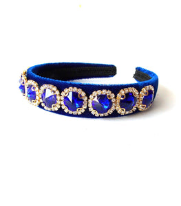 Royal Blue Velvet Jewelled Handmade Headband