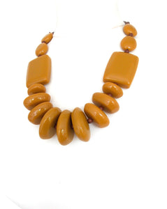 Mustard Resin Chunky Bead Statement Necklace