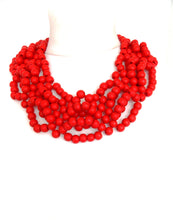 Load image into Gallery viewer, Red Wooden Bead Statement Necklace