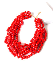 Red Wooden Bead Statement Necklace