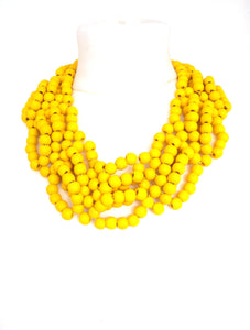 Chunky Yellow Wooden Beaded Statement Necklace