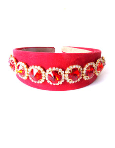 Wide Red and Crystal Jewelled Handmade Headband