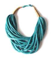 Load image into Gallery viewer, Teal Blue Layered Fabric Necklace