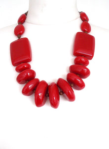 Red Resin Chunky Bead Necklace