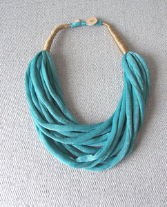 Teal Blue Layered Fabric Necklace