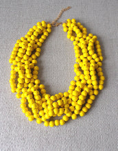 Load image into Gallery viewer, Chunky Yellow Wooden Beaded Statement Necklace