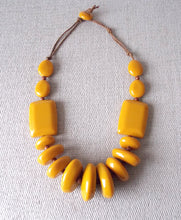 Load image into Gallery viewer, Mustard Resin Chunky Bead Statement Necklace