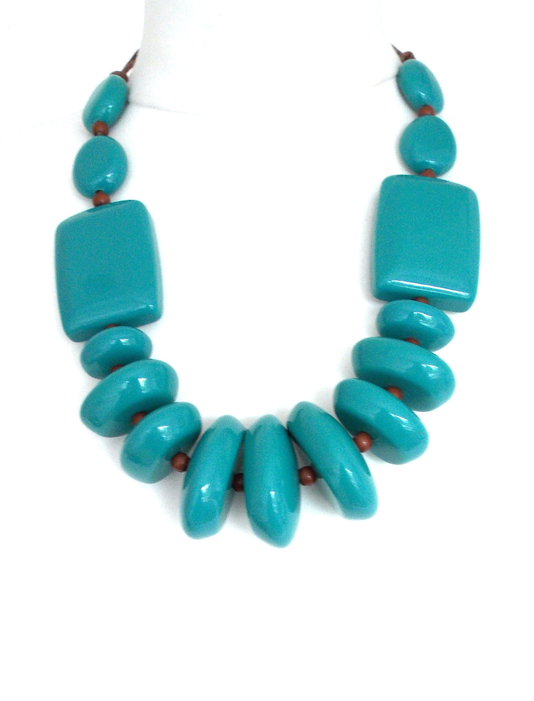 Turquoise Resin Chunky Bead Necklace