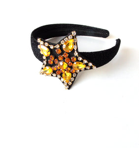 Girls Gold Crystal Jewelled Star Headband