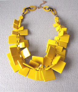 Chunky Mustard Yellow Abstract Acrylic Statement Necklace