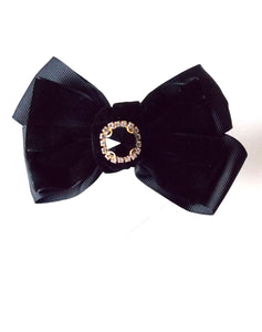 Black Velvet Jewel Hair Bow