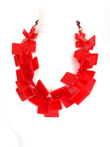 Chunky Red Acrylic Abstract Statement Necklace