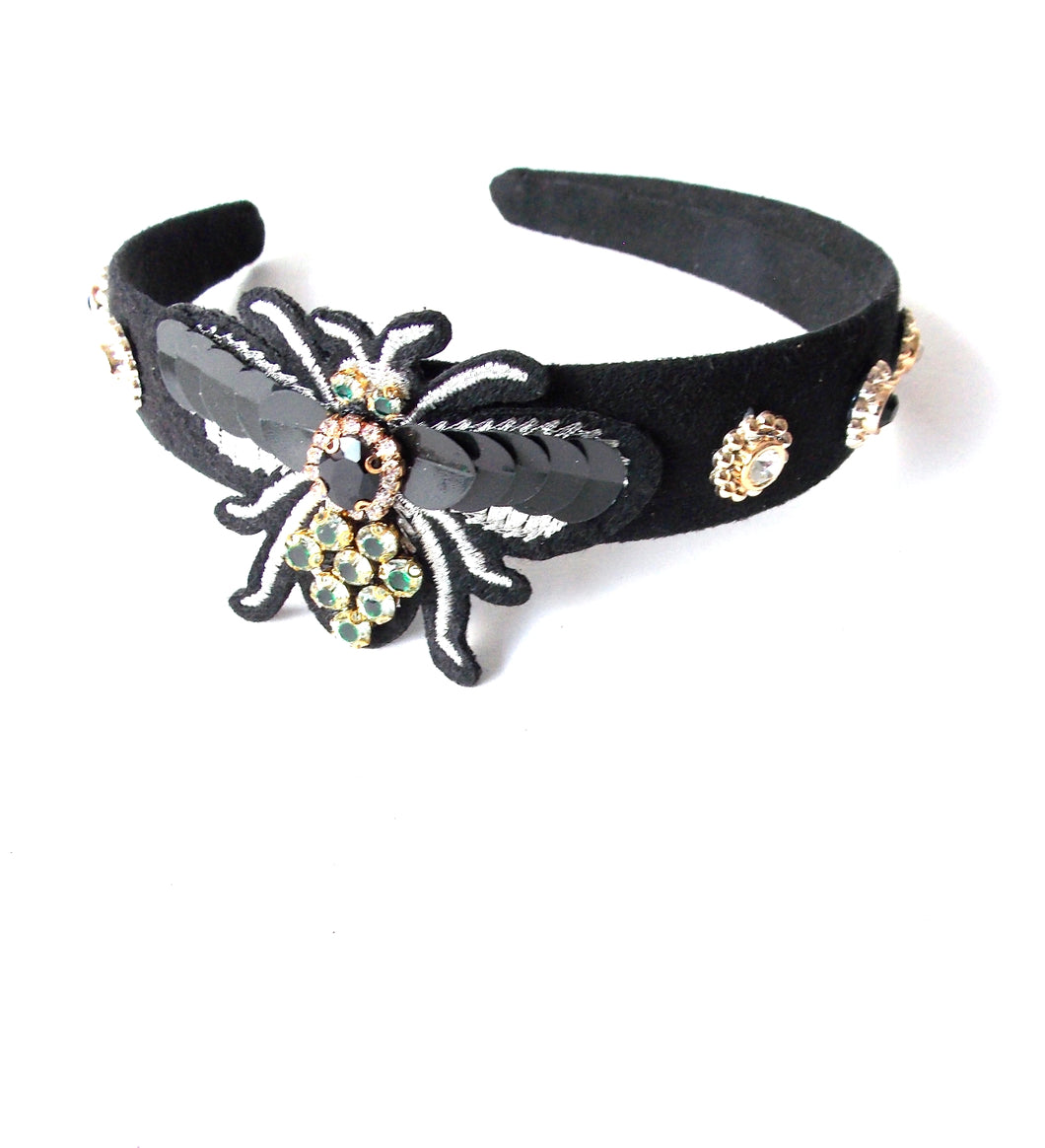 Black Sequin Bug Headband