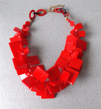 Load image into Gallery viewer, Chunky Red Acrylic Abstract Statement Necklace