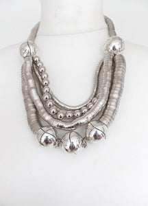 Chunky Silver Boho Statement Necklace