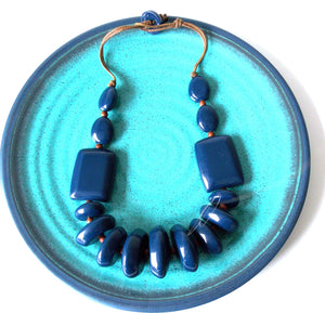 Navy Blue Chunky Resin Bead Necklace