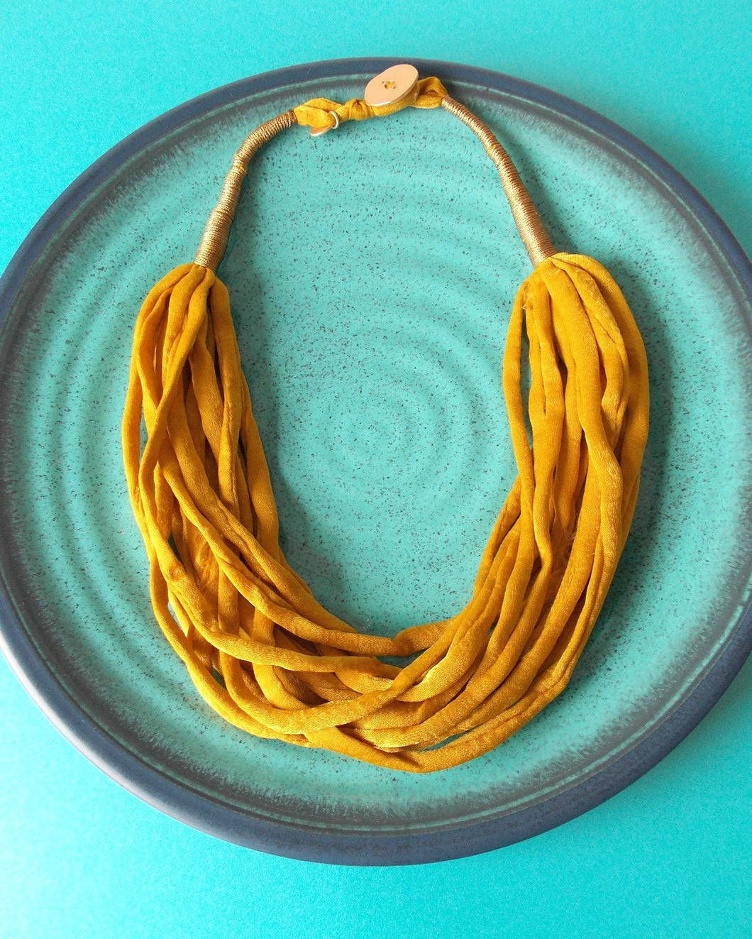 Mustard Layered Fabric Necklace
