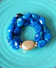 Load image into Gallery viewer, Blue Beaded Stretch Style Bracelet