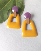 Load image into Gallery viewer, Mustard and Purple Resin Abstract Earrings