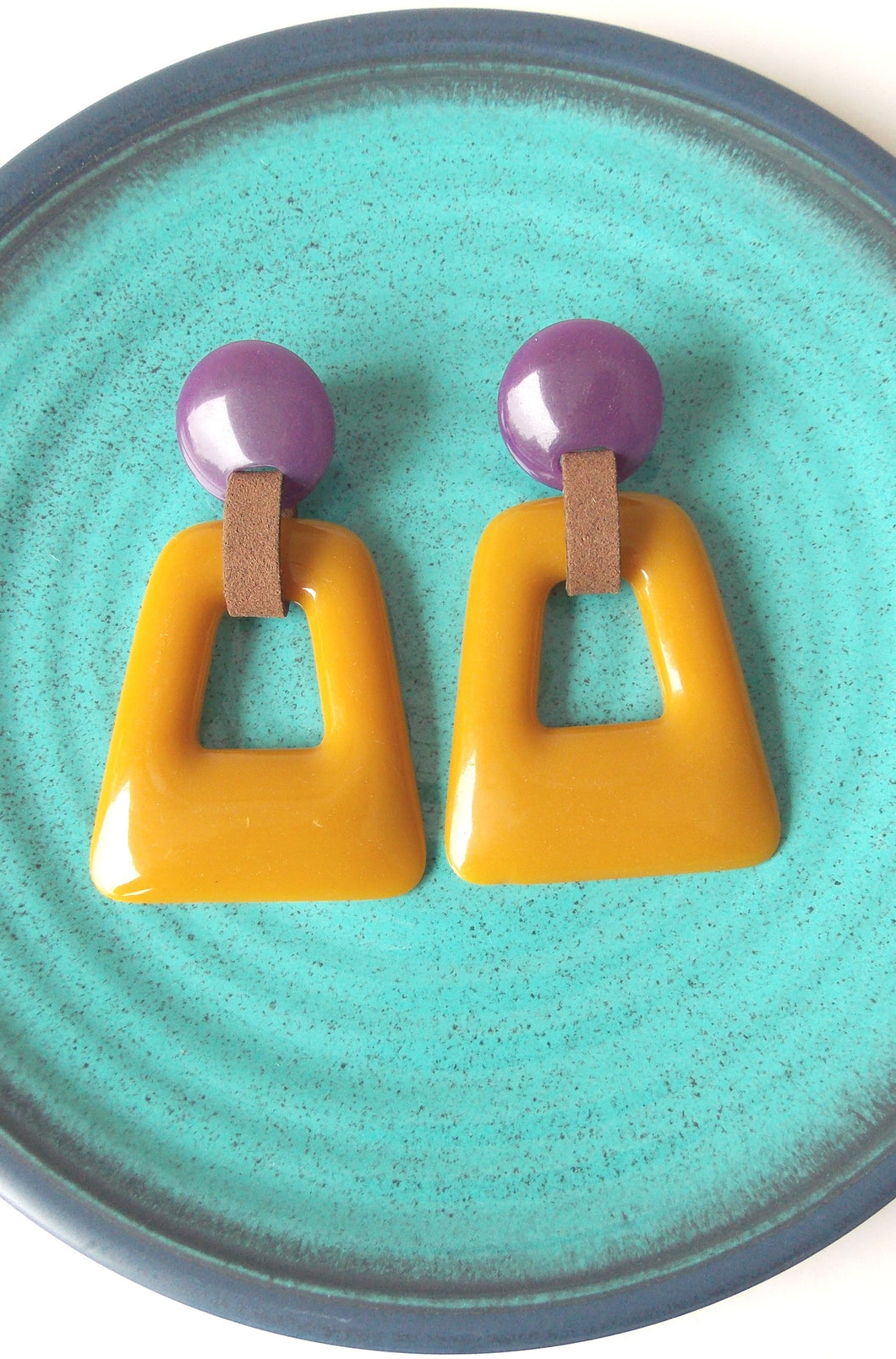 Mustard and Purple Resin Abstract Earrings