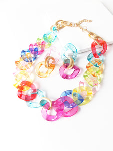Rainbow Chunky Chain Necklace and Earrings Set