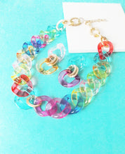 Load image into Gallery viewer, Rainbow Chunky Chain Necklace and Earrings Set