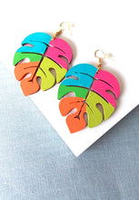 Load image into Gallery viewer, Rainbow Monstera Leaf Earrings