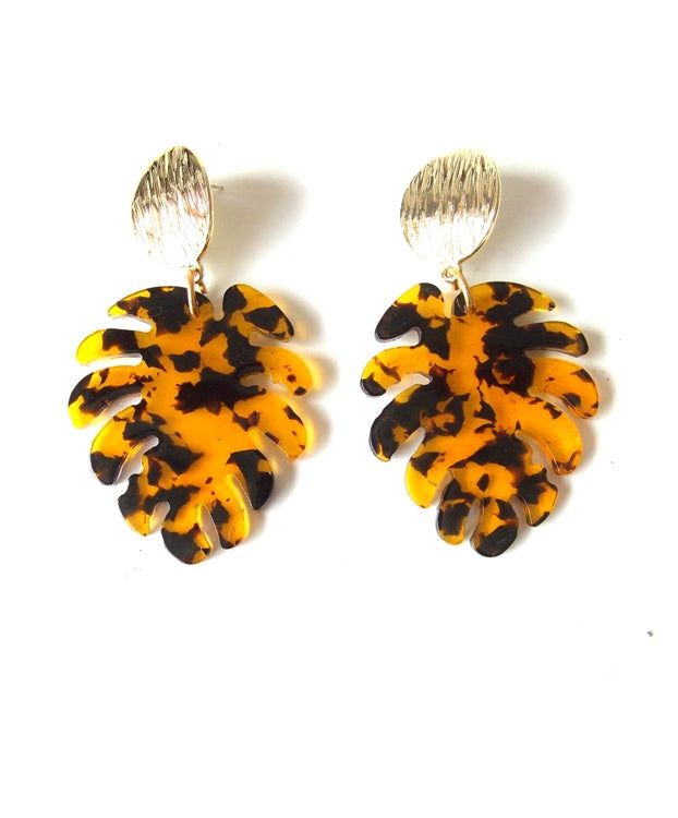 Tortoise Shell Monstera Leaf Earrings