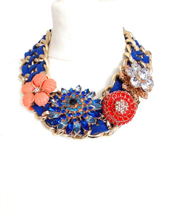 Blue Statement Brooch Style Necklace