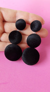 Black Velvet Three Tier Earrings