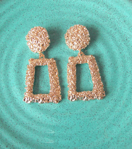 Clip On Rose Gold Textured Earrings