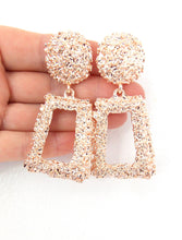 Load image into Gallery viewer, Clip On Rose Gold Textured Earrings