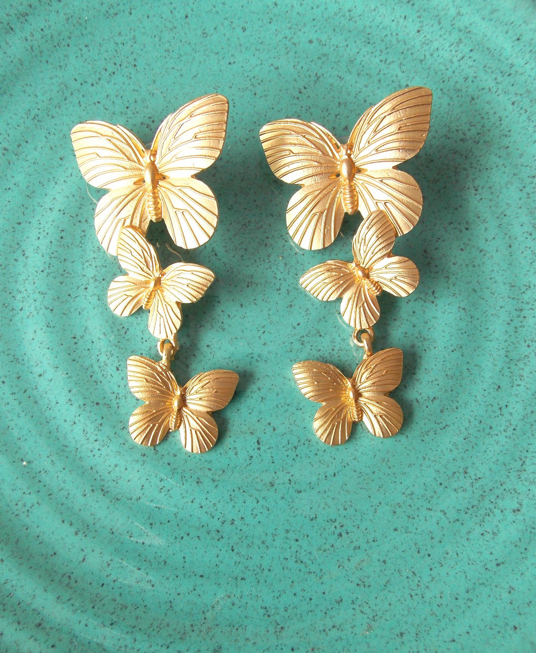 Gold Butterfly Three Tier Earrings
