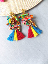 Load image into Gallery viewer, Clip On Multi Coloured Wooden Parrot Tassel Earrings