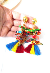 Clip On Multi Coloured Wooden Parrot Tassel Earrings