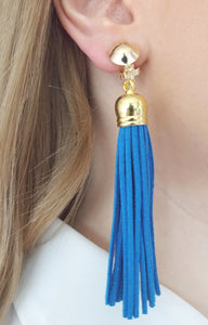 Clip On Blue Faux Suede Tassel Earrings