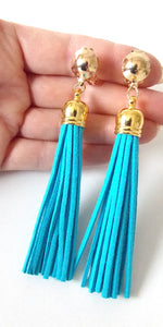 Clip On Turquoise Faux Suede Tassel Earrings