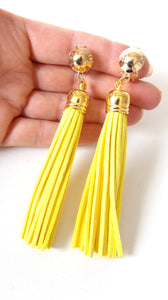 Clip On Yellow faux Suede Tassel Earrings