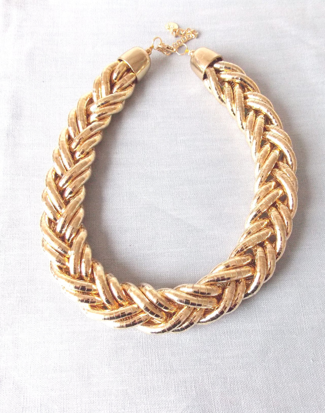 Chunky Gold Plait Style Necklace
